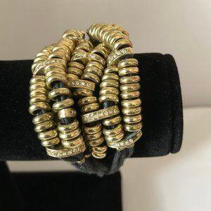 Burnish Gold Plated Corded Statement Bracelet